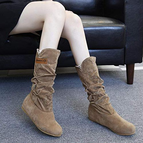 LandFox Winter Shoes,Woman Knee Flat Nubuck Boot