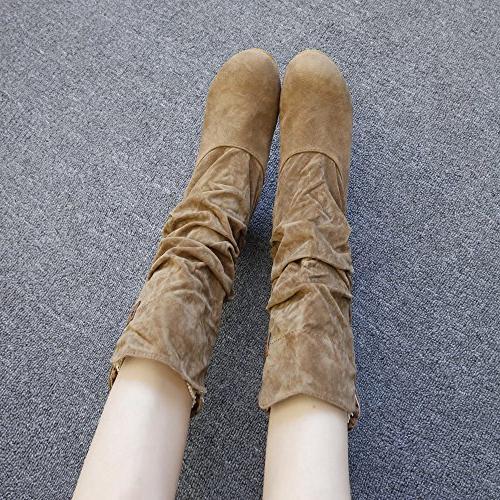 LandFox Shoes, Shoes,Woman Knee High Flat Heel Nubuck Motorcycle Boot