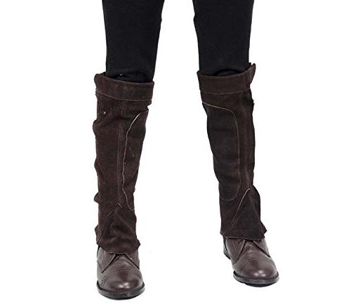 Derby Leather Half Chaps with Velcro for Motorcycle Use