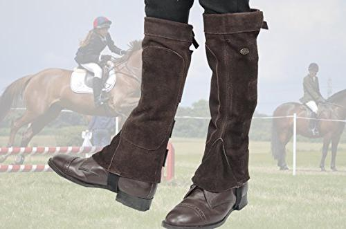 Derby Suede Leather Half Chaps Velcro for Horse or Motorcycle