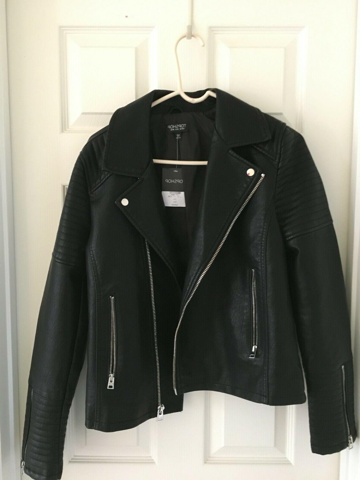 top shop leather jacket us size 10
