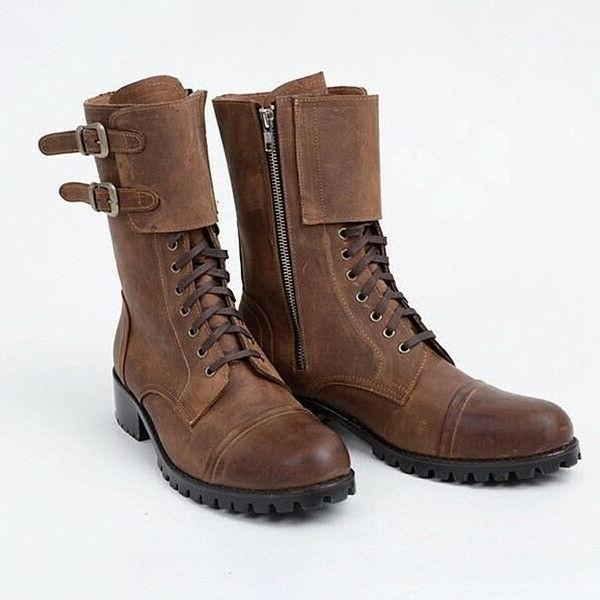 US Biker Boots Double Leather Tall Boots