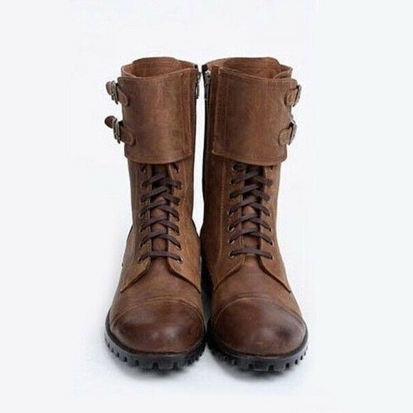 US Mens Biker Boots Leather