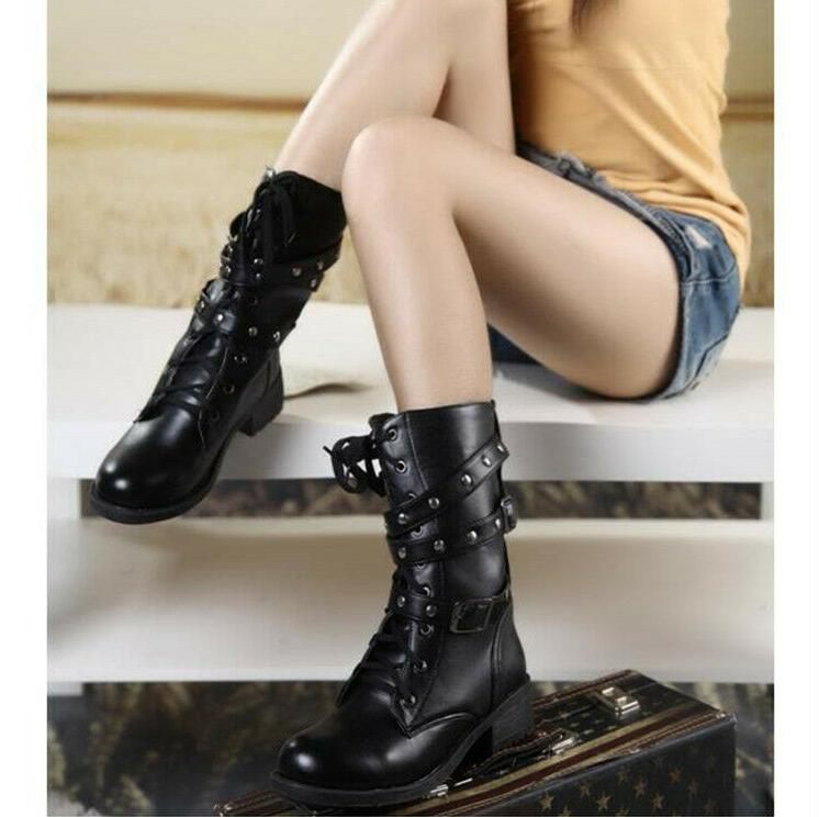 US Punk Boots Motorcycle Biker Military 3 Buckle Calf Shoes