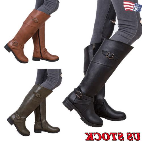 US Sexy Women's Leather Buckle Boots Low High Heel Shoes Lad