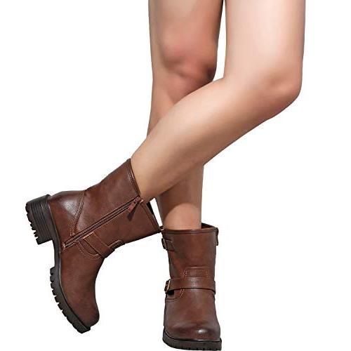 Women's Wide Mid Calf - Buckle Mid Low Heel Side Zipper Westwood
