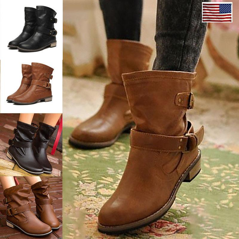 winter women motorcycle boots leather buckle casual