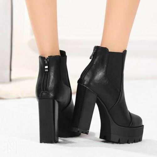 Women Motorcycle Platform Plus Zip Heel Knight Shoes