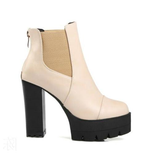 Women Motorcycle Boots Platform Zip Heel Shoes