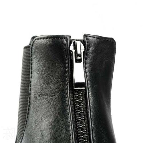 Women Ankle Motorcycle Boots Platform Plus Size Zip Knight Shoes