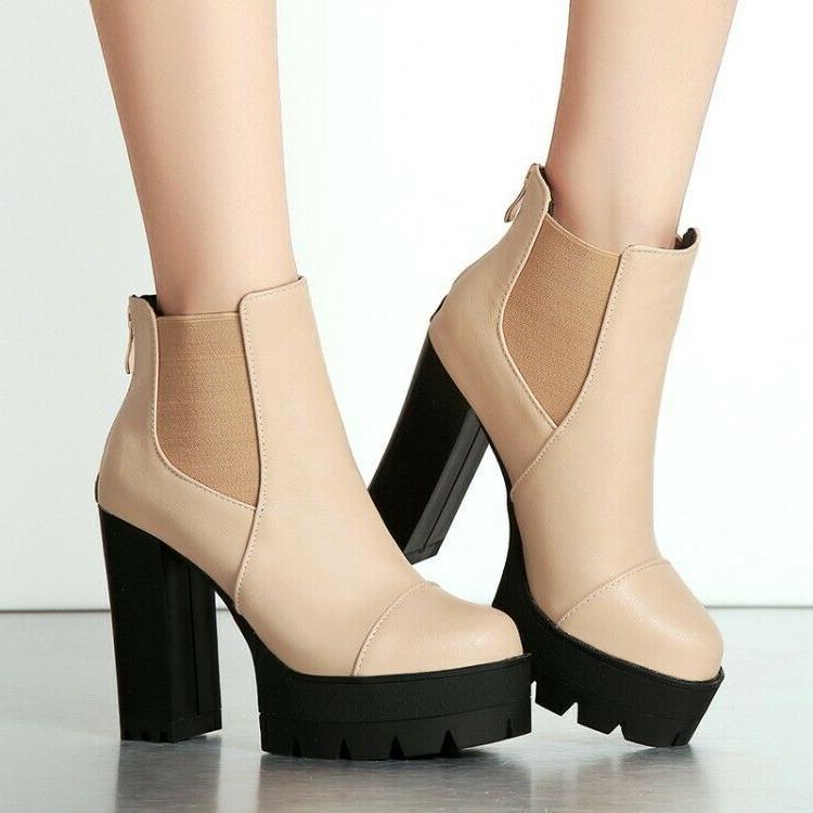 women ankle motorcycle boots platform plus size