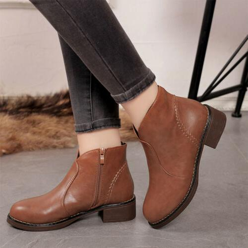 Women PU Leather Heel Shoes Boots