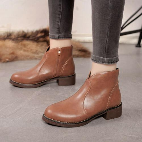 PU Leather Mid Heel Shoes Motorcycle Ankle Boots