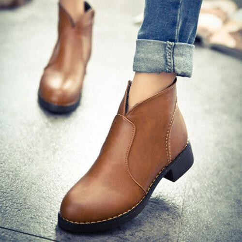 Women Fashion Side PU Leather Shoes Motorcycle Martin Boots
