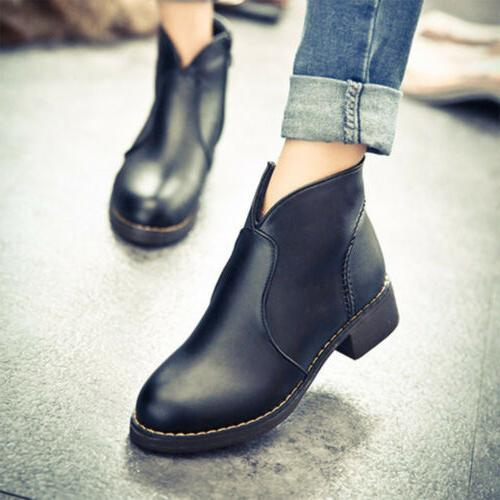 Women Fashion Side PU Leather Mid Heel Shoes Motorcycle Boots