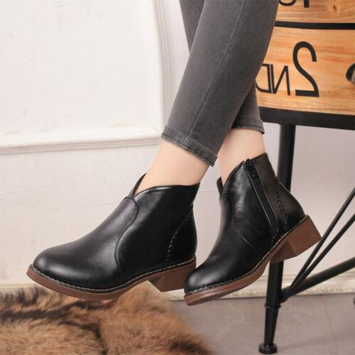 Women PU Leather Mid Shoes Motorcycle Martin Boots