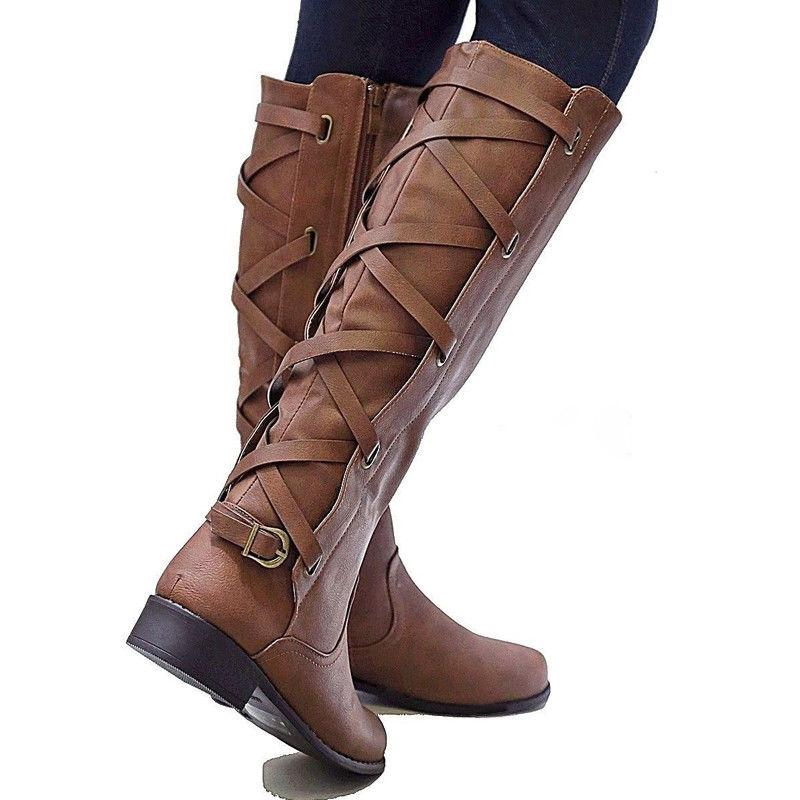 Women's Knee Calf Boots Punk Riding Shoes