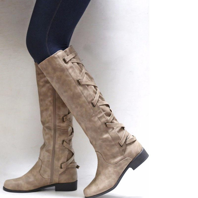 Women's Flat Heel Knee High Lady Calf Boots Riding