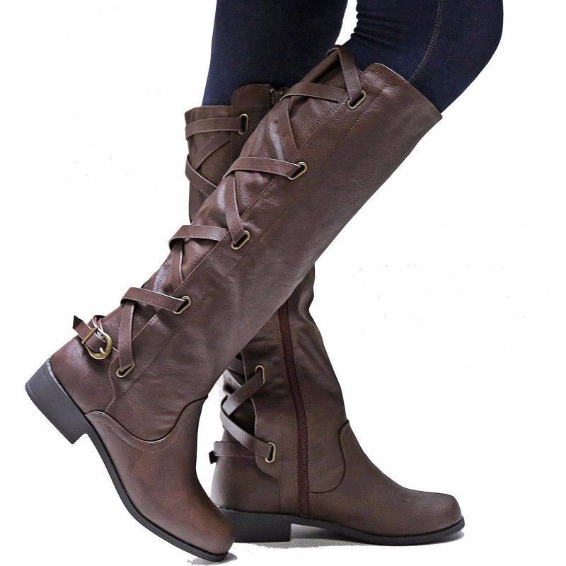 Women's Low Heel Knee High Calf Riding