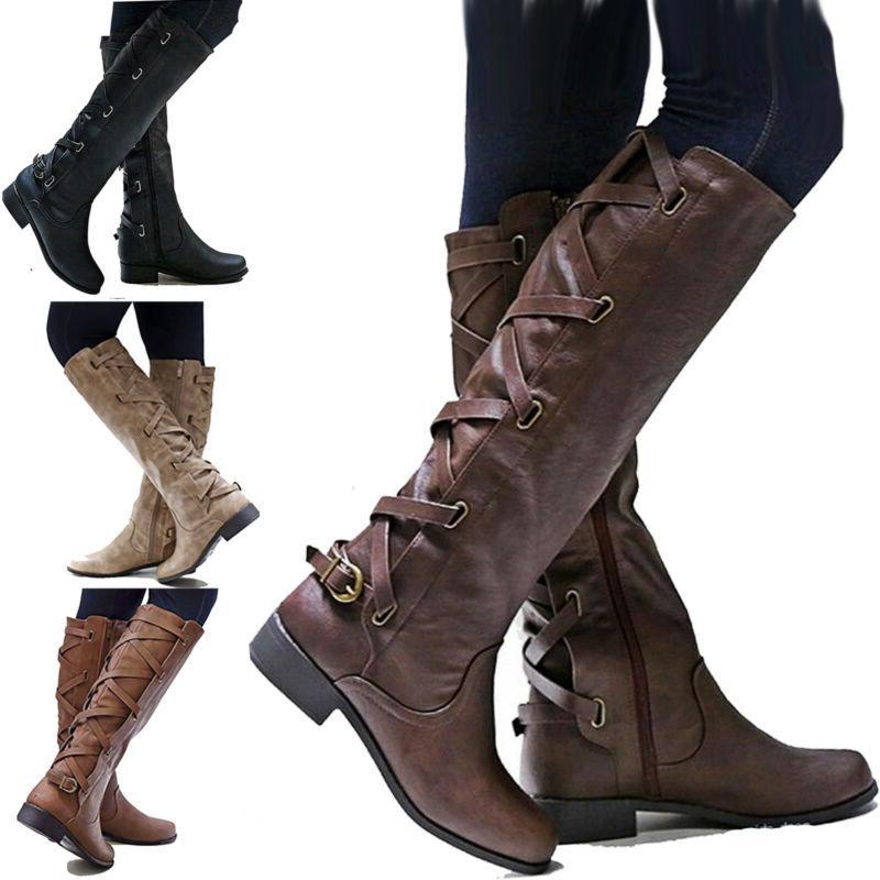 womens flat low heel knee high leg