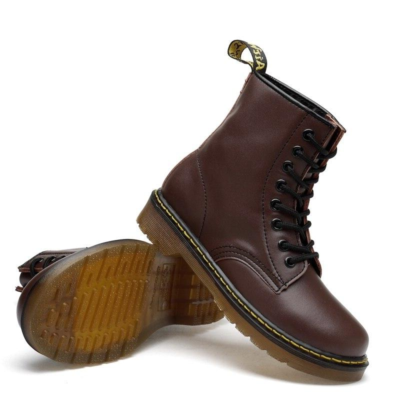 Everythsoul Leather Ankle Martens <font><b>Boots</b></font> for Women <font><b>Motorcycle</b></font> Warm Winter Couple Shoes