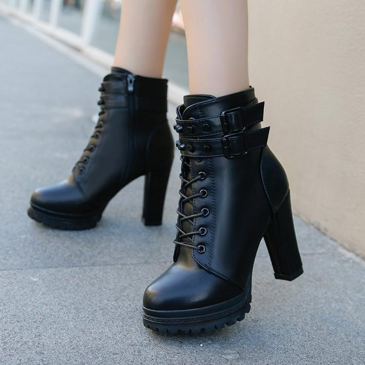 Aleafalling 11cm Heel <font><b>Boots</b></font> Buckle <font><b>Casual</b></font> Lady <font><b>Boots</b></font>