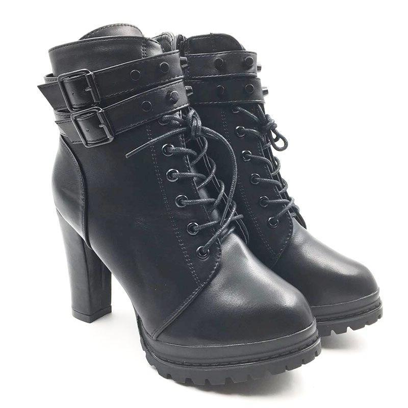 New Female Woman's 11cm High Mature <font><b>Boots</b></font> Vintage Buckle <font><b>Casual</b></font> <font><b>Boots</b></font>