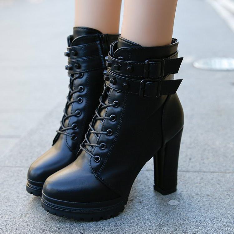 Aleafalling Women <font><b>Boots</b></font> New 11cm <font><b>Boots</b></font> Vintage Buckle <font><b>Casual</b></font> Lady