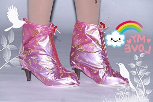 HHLJ Women's Heels anti-skid Rain Shoe Covers Zippered PVC Waterproof Women Girls Shoes , Pink)