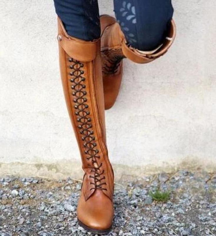 Women Knee <font><b>Boots</b></font> Lace Up Shoes Woman Heels Gladiator botas invierno wxz292