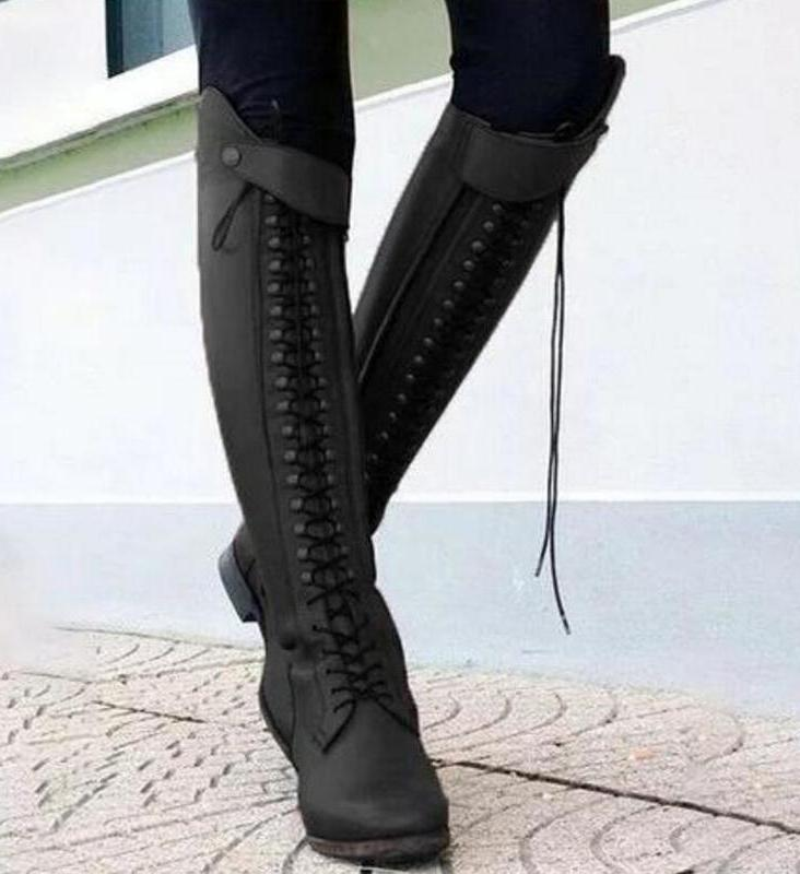 Women High <font><b>Boots</b></font> Lace Up Shoes Heels Gladiator invierno