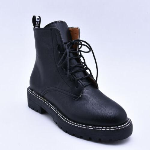 Women Block Combat Boots Military Boots Lace Up Shoes