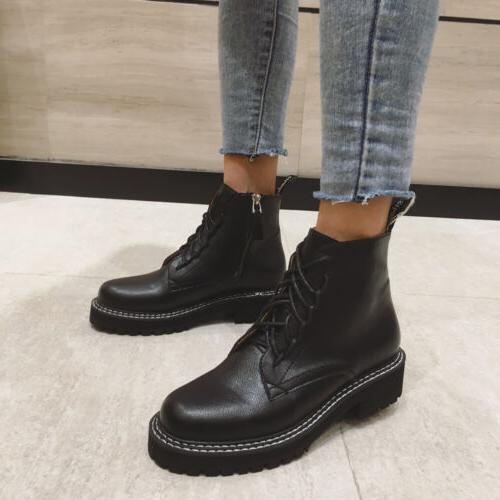 Women Low Combat Boots Motorcycle Boots Lace Shoes
