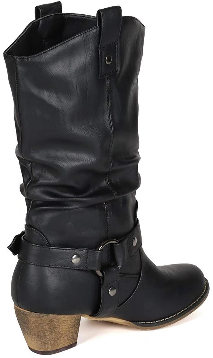 Women Pointed Cowgirl Mid Calf Chunky Motorcycle