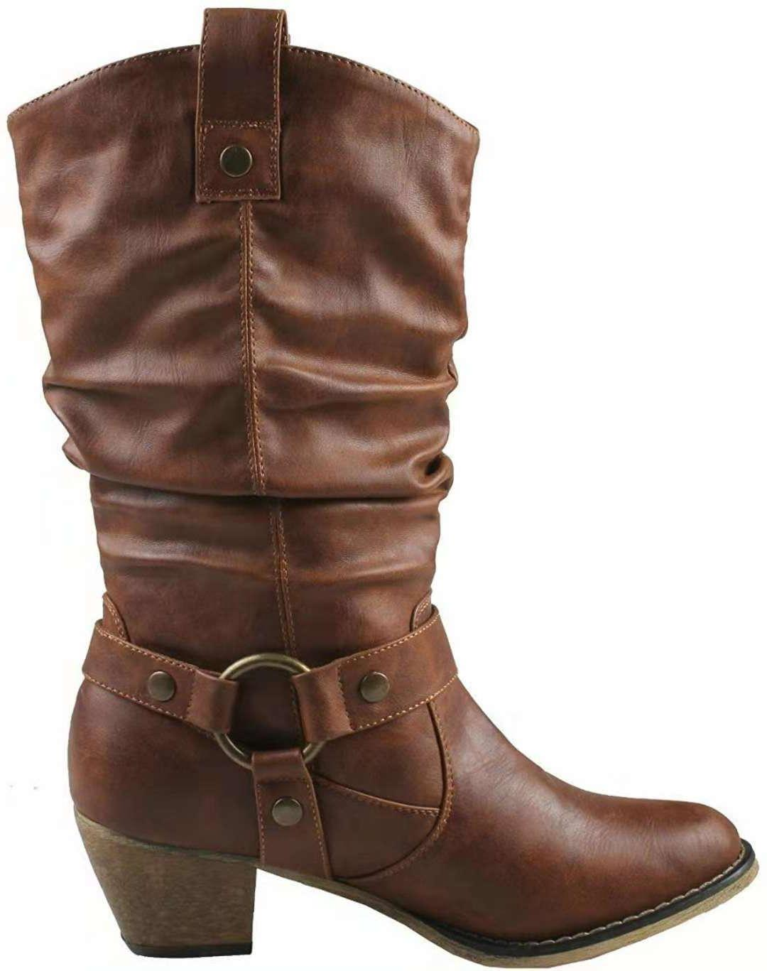 Women Cowgirl Chunky Buckle Motorcycle Boots