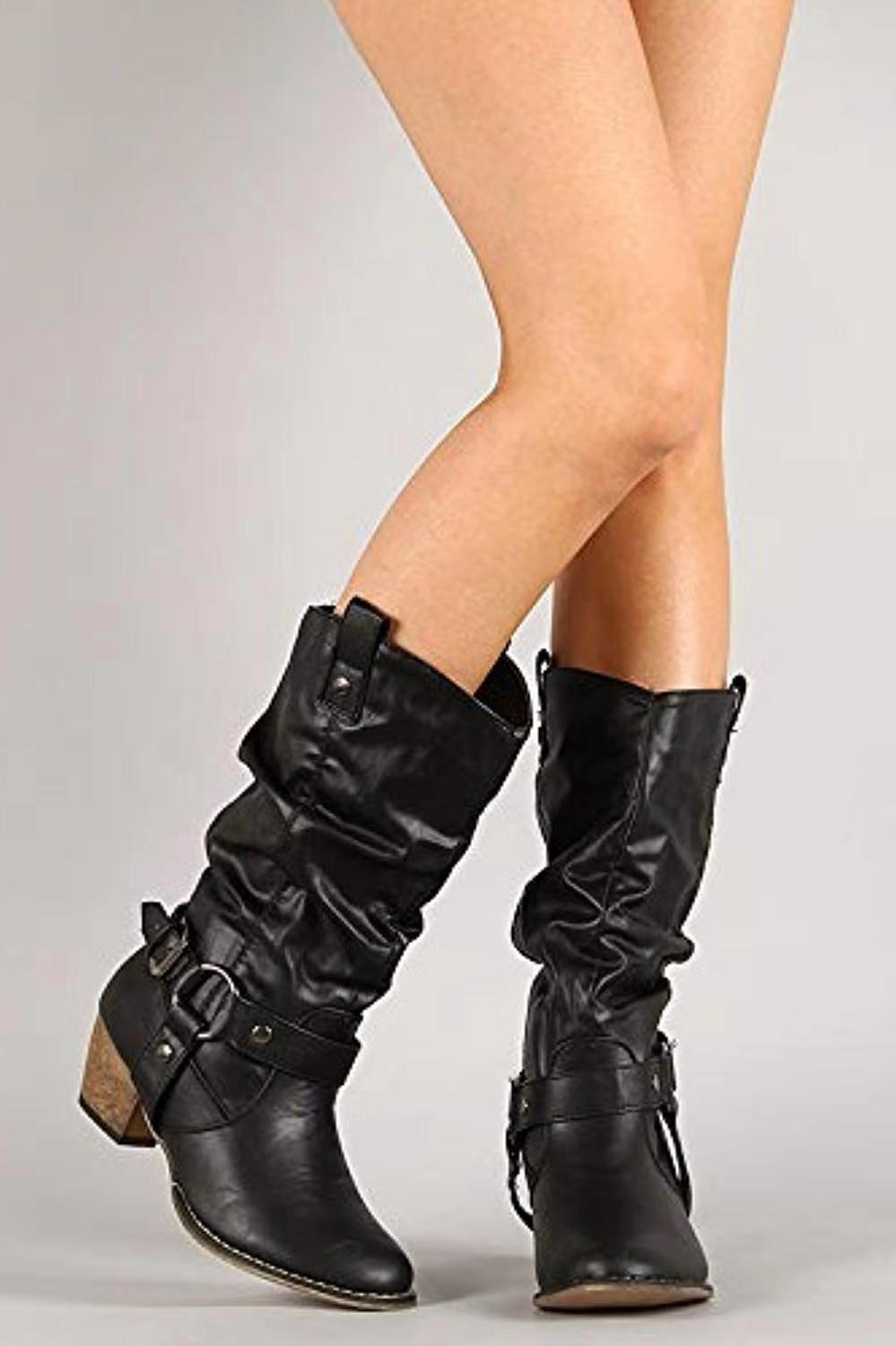 Women Cowgirl Boots Chunky Motorcycle