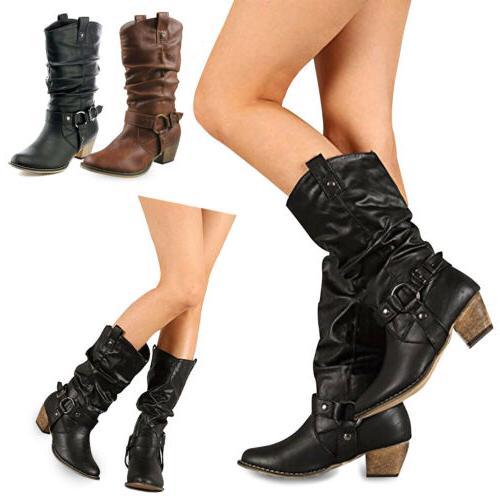 women mid calf high low heel western
