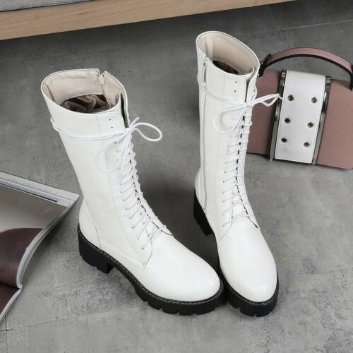 Women Up Military Biker Boots Shoes Motorcycle