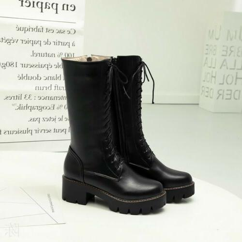 Women Mid Up Combat Military Boots Shoes