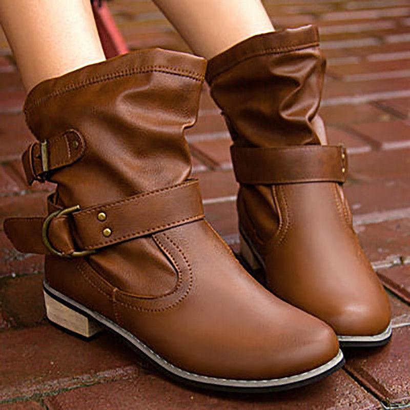 Winter Women Boots Leather Round Low Heel
