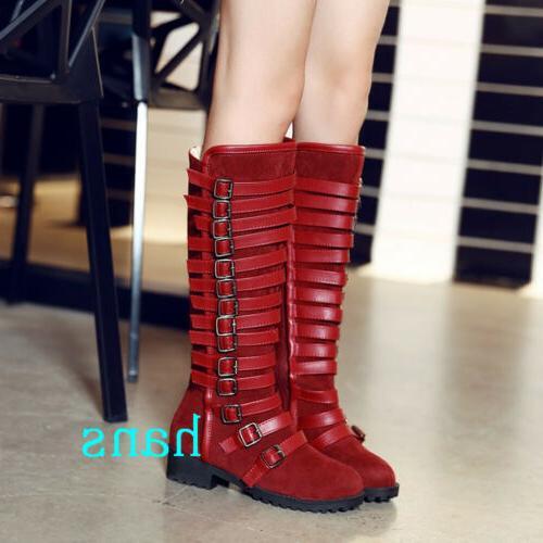 Women Motorcycle High Boots Buckle Heels Zip Size 12