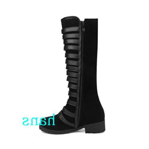 Women Motorcycle Knee Boots Heels Zip Shoes Size 12