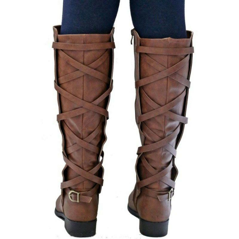 Women Motorcycle Riding Shoes Low Knee Ladies Calf Boots