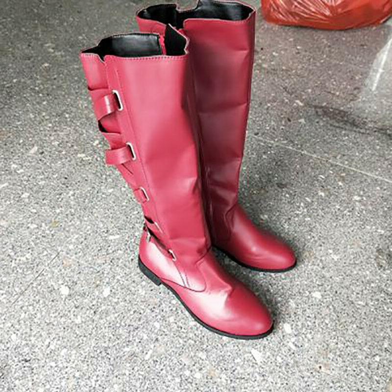 Women Motorcycle Shoes Flat Low Knee High Calf Boots
