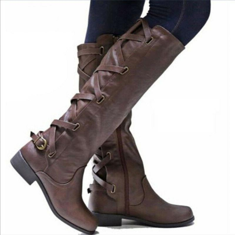 Women Motorcycle Punk Shoes Flat Knee High Calf Boots