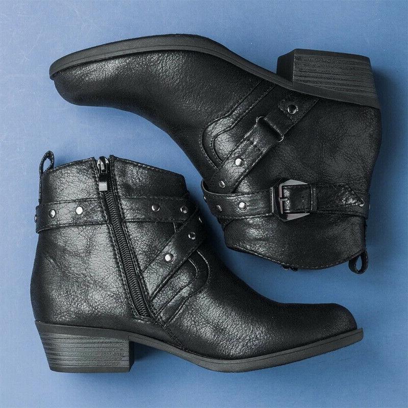 Women Buckle Boots Low Mid Heels Shoes Motorcycle Booties Size