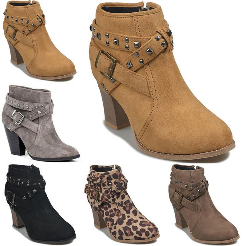 Women Boots Low Mid Block Heels Size