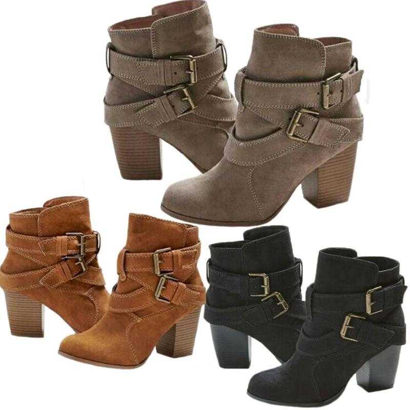 Women Retro Buckle Ankle Boots Mid Heels Motorcycle Booties Size