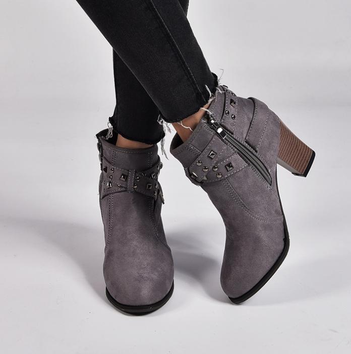 Women Retro Buckle Boots Heels Size