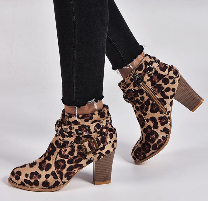Women Retro Ankle Boots Low Mid Block Heels Motorcycle Size